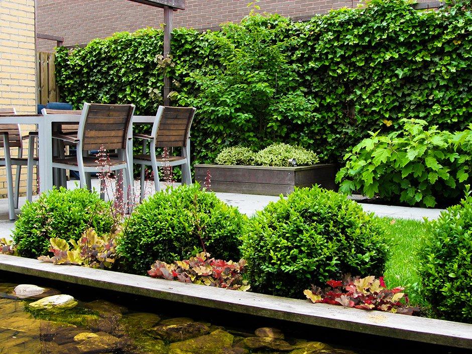 Familietuin met strakke vijver bij hoekwoning van jaarsveld tuinen