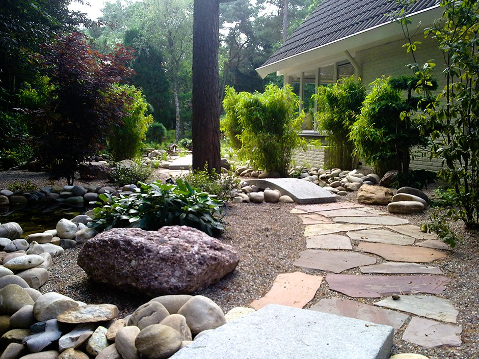 Japanse tuin met vijvers bilthoven van jaarsveld tuinen for Grind tuin