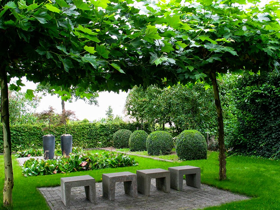 landelijke tuin met strakke vlakverdeling van jaarsveld