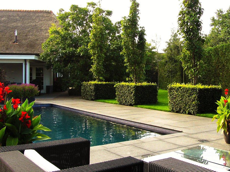 Rustieke villa tuin met zwembad in houten van jaarsveld for Tuin met zwembad