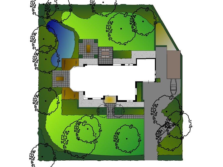 Klassieke villa tuin met natuurlijke vijver van for Plattegrond tuin maken