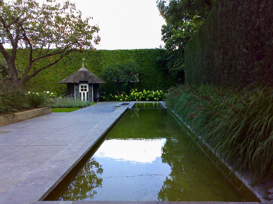 Tuinaanleg moderne leeftuin met designvijver van for Strakke tuinen met siergrassen
